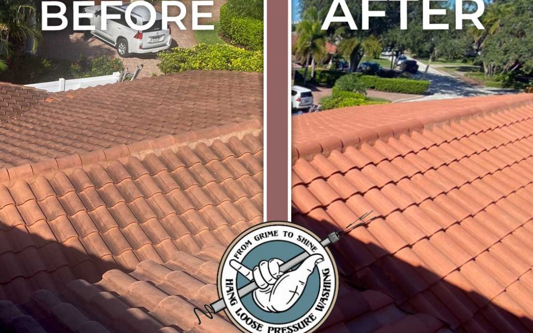 Red Tile Roof Cleaned in St. Pete Beach